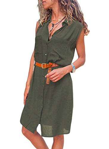 Wholesale Cotton Dresses - Diukia Women's Casual Sleeveless Summer Autumn V Neck Button Down Pocket Loose Shirt Midi Dress with Pocket(S-XL) Army Green