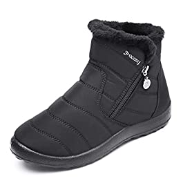 gracosy Warm Snow Boots, Women's Winter Ankle Bootie Anti-Slip Fur Lined Ankle Short Boots Wat