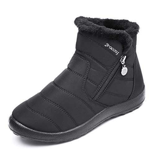 gracosy Warm Snow Boots, Women's Winter Ankle Bootie Anti-Slip Fur Lined Ankle Short Boots Waterproof Slip On Outdoor Shoes Black 7.5 M US