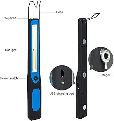 Winzwon Lámpara de Inspección Linterna COB LED Linterna Faroles de mano Luz de la antorcha Linterna de Trabajo con Gancho, Base Imán, Cable USB para ...