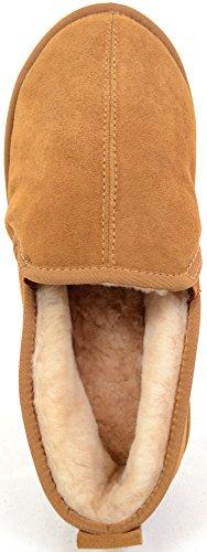 SNUGRUGS Peau de Mouton Chaussons avec semelle rigide léger–Marron