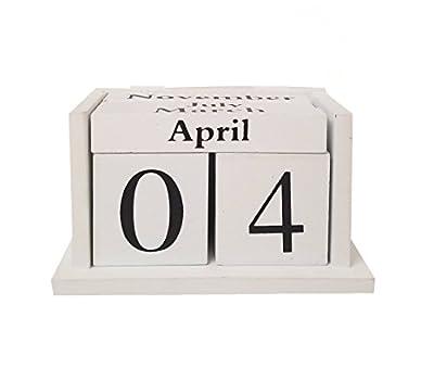 "Wooden Block Calendar – Black and White – Desk Calendar – Stylish and Unique – Perpetual Calendar (6""x3""x5.5"")"