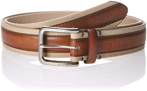Nautica Men's Casual Belt with Canvas Overlay-brown/tan, ()