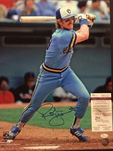Autographed/Signed Robin Yount Milwaukee Brewers 16x20 Baseball Photo JSA COA