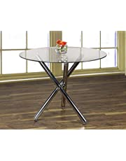 K LIVING Treston Dining Table with Glass Top and Chrome Base