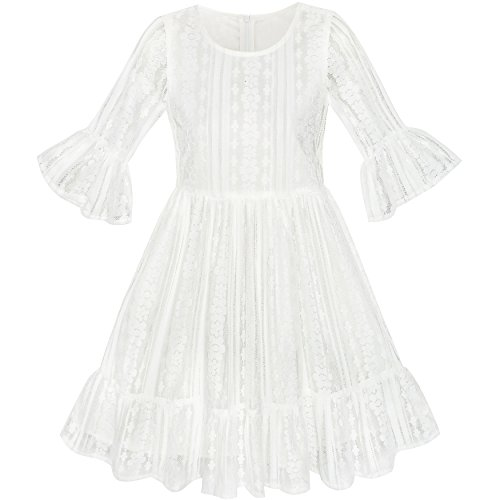 LE52 Girls Dress Off White Lotus Sleeve Lace Princess Party Dress Size (Kids White Dress)