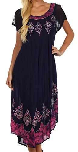 Sakkas B009 Batik Hindi Cap Sleeve Caftan Dress/Cover Up - Navy/Pink - One - Caftan Dress Sleeve