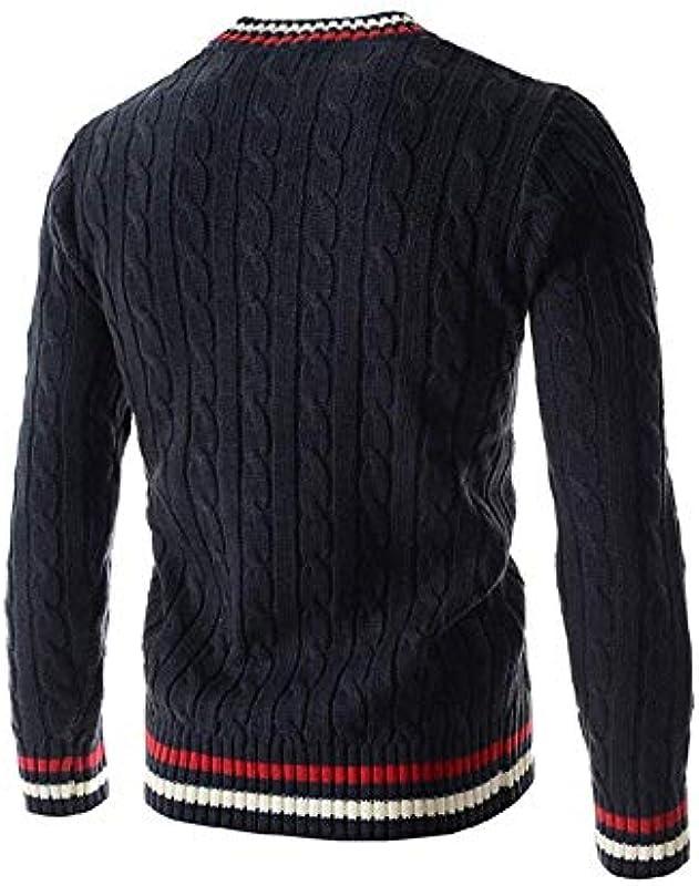 Męski gruby sweter długi sweter Slim Fit dzianina top z wygodnym rozmiarem V dekolt wiosna jesień długi rękaw sweter dziany sweter ubranie: Odzież