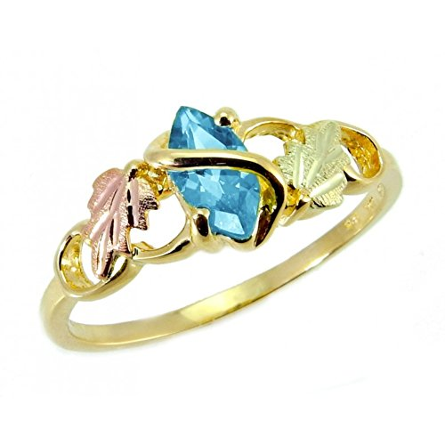 Blue Topaz Marquise Wrap Ring, 10k Yellow Gold, 12k Pink and Green Gold Black Hills Gold Motif, Size 9 - Ring Marquise Topaz