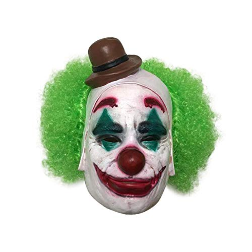 Gent Halloween 2019 (2019 Halloween Clown Mask Man with Green Hair Costume Cosplay)