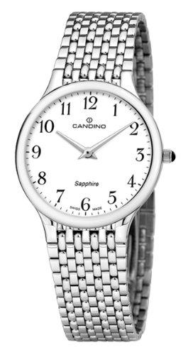Candino C4362/1 - Reloj para Caballero de Acero Inoxidable Blanco: Amazon.es: Relojes