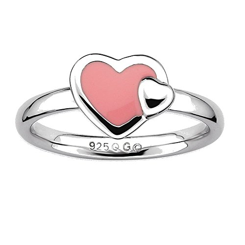 Goldia Sterling Silver Stackable Expressions Polished Pink Enameled Heart