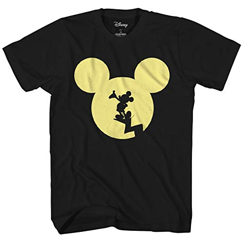 Disney Mickey Mouse Moon Silhouette Disneyland World Funny Men's Adult Graphic Ringer Tee T-Shirt (Black, Medium)