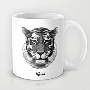 Tiger Says Meow MEOW Coffee Mug Pattern Coffee Mug Ceramic 11 OZ White Funny Cup for Coffee Milk Juice or Tea Cups Great Novelty Gift for Girlfriend Boyfriend