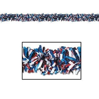 Beistle Foil Star 화환 - 빨강, 흰색 및 파랑 별이있는 25 피트 ..