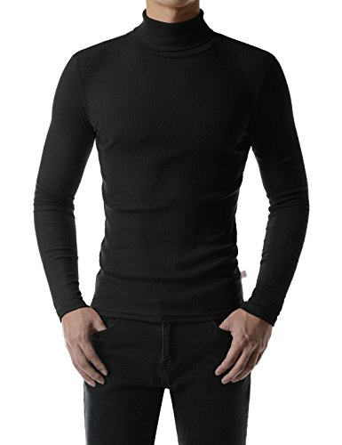 Knit Turtleneck Shirt - (MZT42) Essential Pullover Slim Lightweight Knit Jersey Turtleneck T-Shirt BLACK US XS(Tag size L)