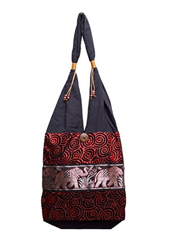 Ethnic Elephant Yam Red Thai BTP Dh1 Parade Bag Shoulder Hobo Hippie Purse 6f08w