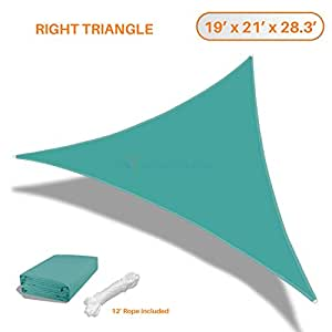 Sunshades Depot 19'x21'x28' Right Triangle Waterproof Knitted Shade Sail Curved Edge Turquoise 180 GSM UV Block Shade Fabric Pergola Carport Awning Canopy Replacement Awning