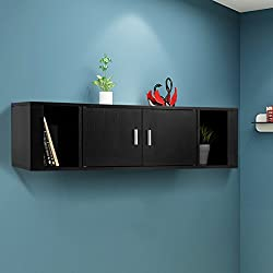 Giantex 2 Cube Wall Mounted Floating Media Storage Cabinet Hanging Desk 2 Door Floating Console Hutch Home Office Furniture, Black