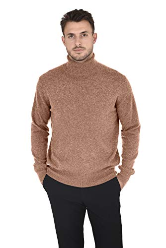 - Cashmeren Men's Wool Cashmere Classic Knit Soft Long Sleeve Turtleneck Pullover Sweater (Almond, X-Large)