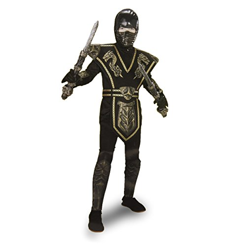 (Ninja Warrior Black and Gold Costume Youth Size Large 12-16)