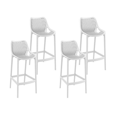 resol set de 4 taburetes de diseno Grid 75 para interior, exterior, jardin - color blanco