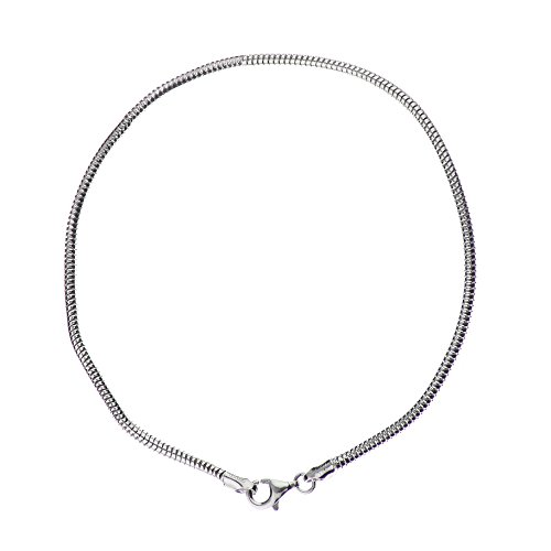 925 Sterling Silver 2.40 mm Real Snake Bracelet Chain with Pear Shape Clasp-Rhodium Finish