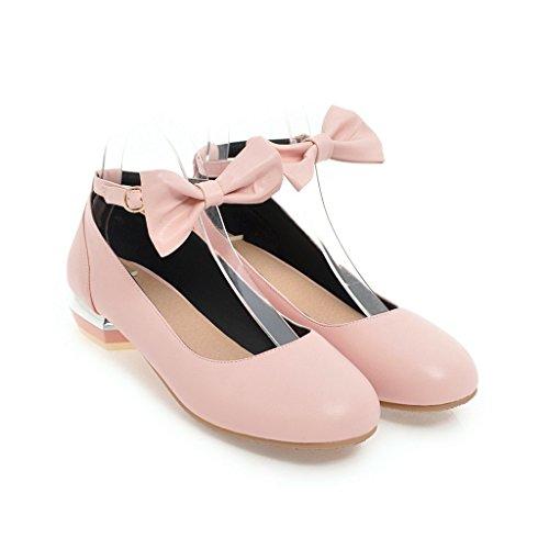Bloc à QIN Bouche Tête Pink Talon Profonde Ronde Talons Femmes Peu Chaussures amp;X HHzEwO
