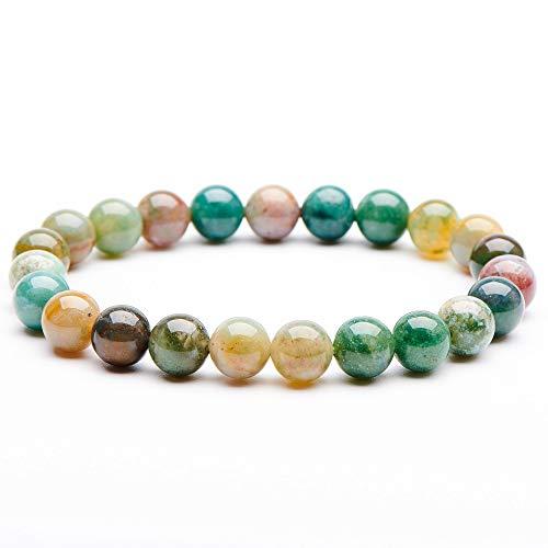 Natural Gemstone Semi Precious Round Beads Bracelet 8mm Handmade Stretch Bracelet Unisex Jewelry (India Agate)