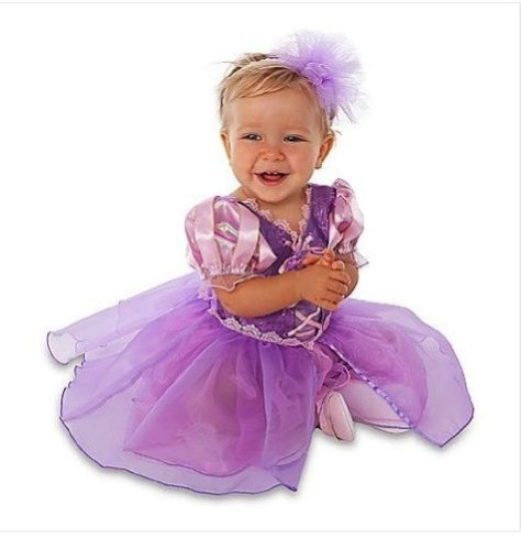 [Disney Store Tangled Princess Rapunzel Costume Size 3-6 Months: Dress w/Headband] (Infant Racing Halloween Costume)