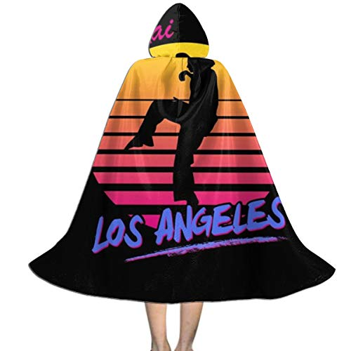 Cobra Kai Los Angeles 80s Silhouette Unisex Kids Hooded Cloak Cape Halloween Party Decoration Role Cosplay Costumes Outwear Black