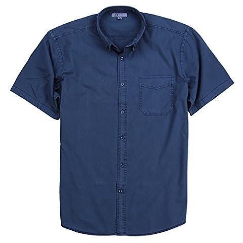 Men's Garment Dyed 100% Cotton Button Down Short Sleeve Shirt (Blue, Large) - Dyed Cotton Short