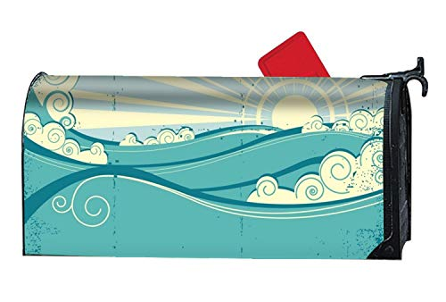 - XPNiao Rust-Proof Mail Box Covers Sea Waves Mailbox Makeover Cover