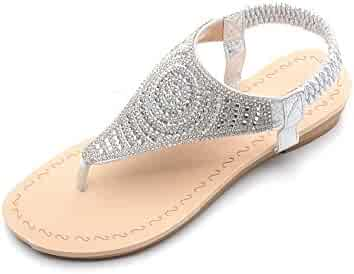 f7e25604aeb Ashley A Sparkly Rhinestone Elastic Rear Thong Flat Dress Sandal for Women