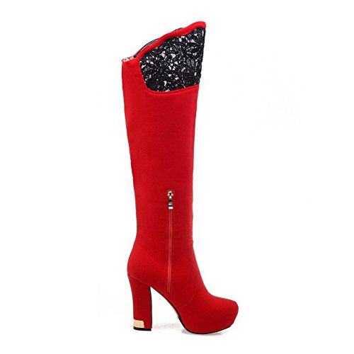 with Closed toe Red AmoonyFashion heels Round High toe Flower Boots Women's 7OOZtq8