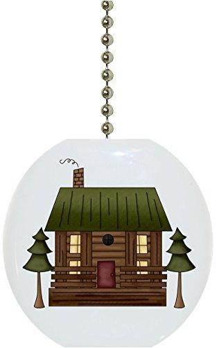 Log Cabin Ceramic Fan Pull