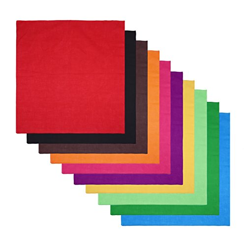 (HDE 10-Pack of Assorted 100% Cotton Bandanas Solid Color Handkerchief Head Wraps)