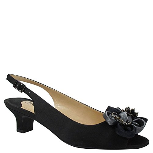 nelle Low Heel Open Toe Slingback,Black Satin,US 9 W ()