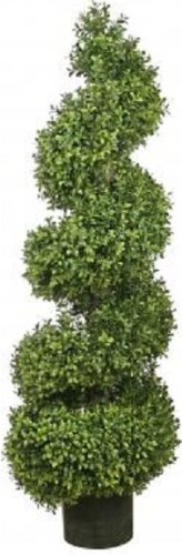 One 46 Inch Artificial Boxwood Spiral Topiary Tree Potted