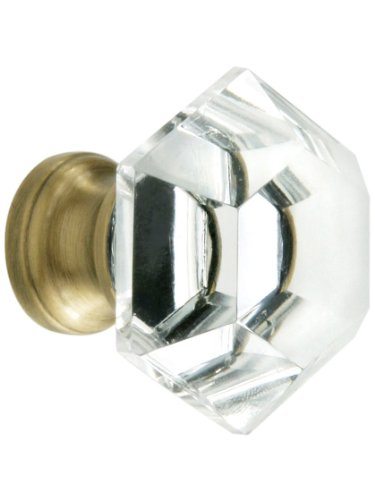 Antique Brass Base - Hexagonal Cut Crystal Knob With Solid Brass Base In Antique Brass
