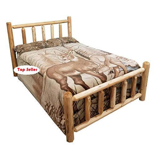 (Michigan Rustics Rustic Log Bed Twin, Full, Queen, King (Queen))