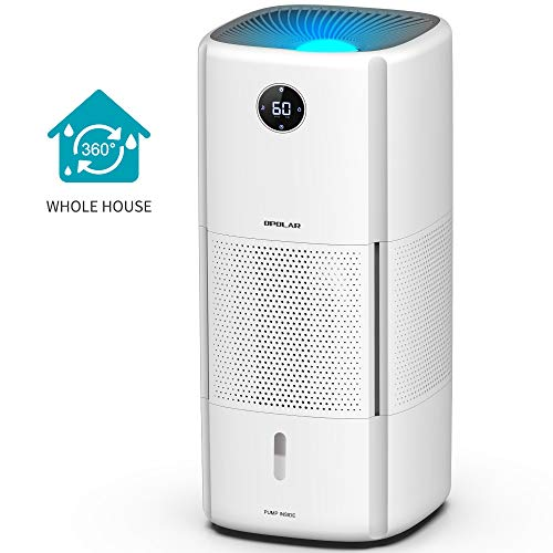 Whole-house Evaporative Humidifier with Wick Filters, 6Gal/Day Evaporation for 1000sq/ft, 2.6Gal Tank Lasts 10-20Hrs, Easy Top Fill, Mist-free, Timer, Sleep Mode, Casters for Easy Movement, No Leakage