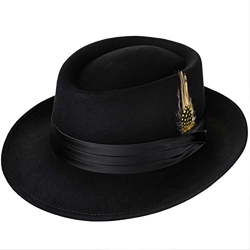 Deevoov Men Fedora Hats with Feather Australia Wool Trilby - Adams Stacey Clothes