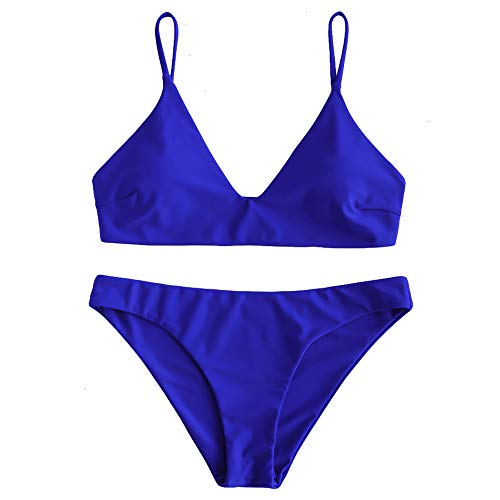 ZAFUL Women's Solid Spaghetti Strap Bralette Bikini Set Two Piece Swimsuit