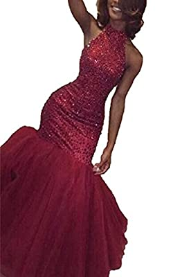 songya Sequins Mermaid Burgundy Prom Dresses Halter Keyhole Back Evening Party Gown Tulle SY139