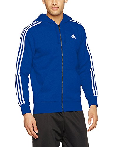 adidas Mens Hooded Sweatshirt Essential 3 Stripe Hoodie Fleece Top Blue New CD8720 (M) - Adidas 3 Stripes Fleece Hooded