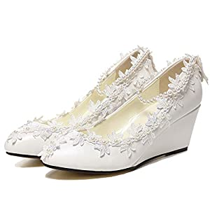 22b43c628 getmorebeauty Women's Wedge Flowers Pearls Mary Janes Wedding Bridal Shoes  5 B(M) US White
