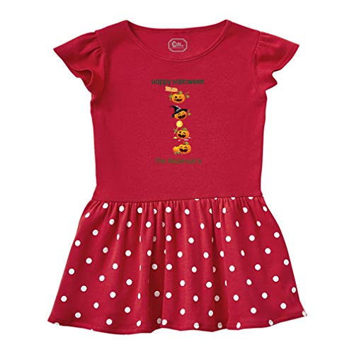 Personalized Custom Halloween Pumpkin Party Short Sleeve Taped Neck Girl Cotton Toddler Rib Dress School Clothes - Red, 5/6T]()