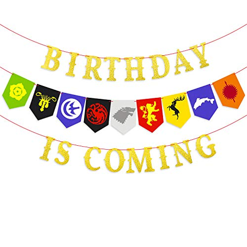 Ticiaga Game of Thrones Party Supplies, Birthday is Coming Banner Decoration for Iron Thrones Theme Party, House Sigil Banner Garland Party Favor for GOT Party Decoration, Birthday Banner ()