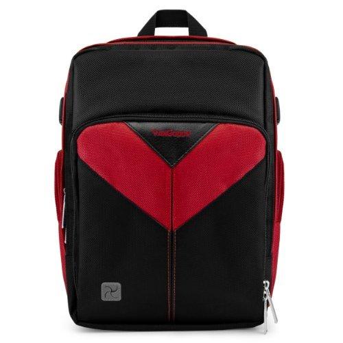 VanGoddy Sparta Travel Backpack for Sigma SD1 Merrill / SD15 / SD1 Digital SLR Cameras + Mini Tripod + Screen Protector Black & Red
